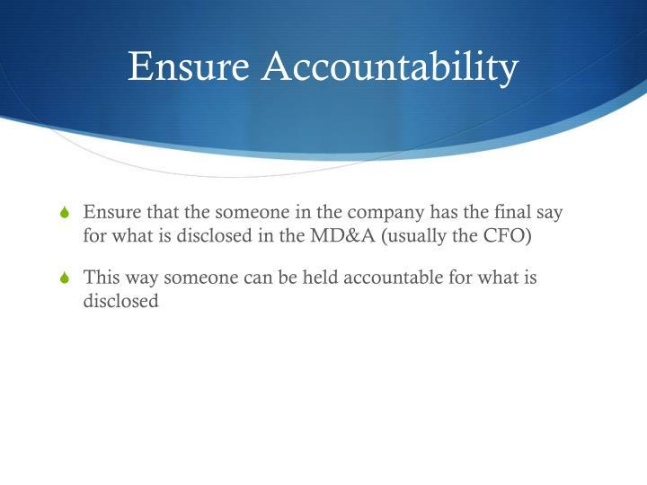 Ensure Accountability