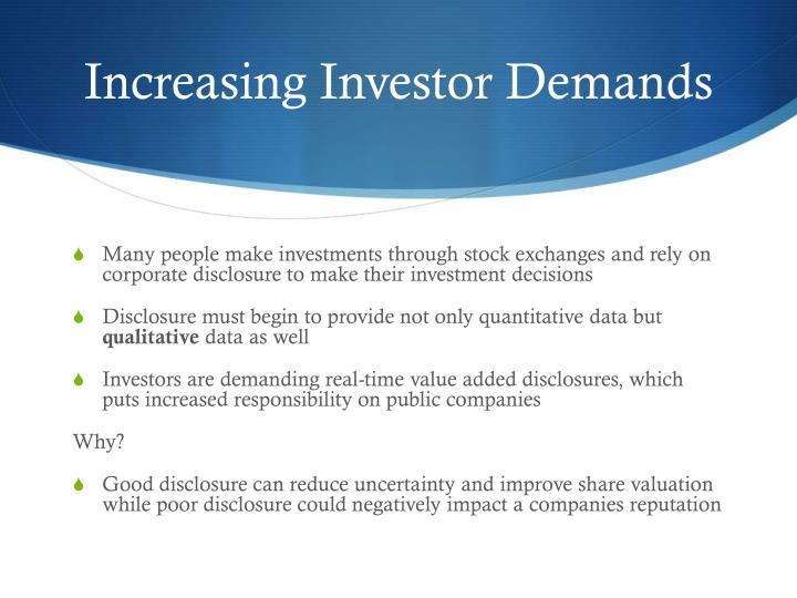 Increasing Investor