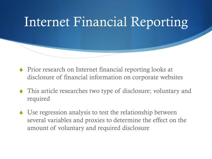 Internet Financial Reporting