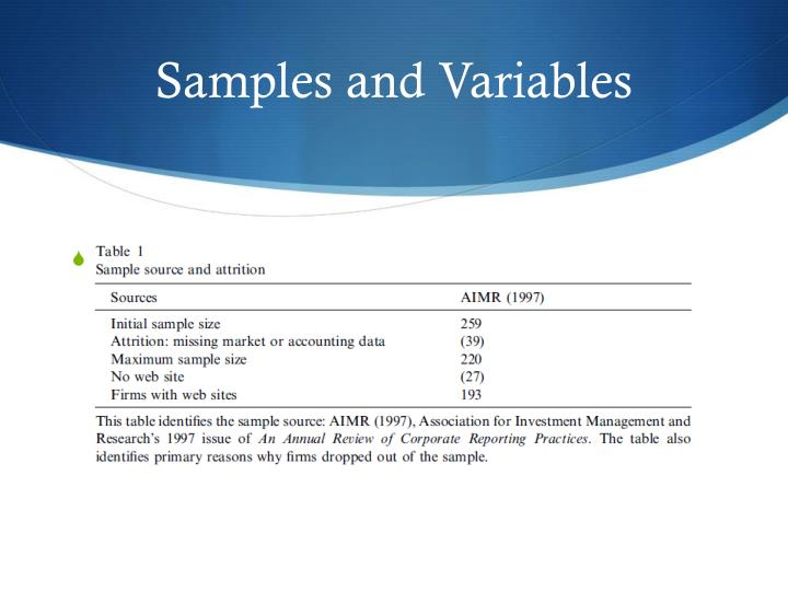 Samples and Variables