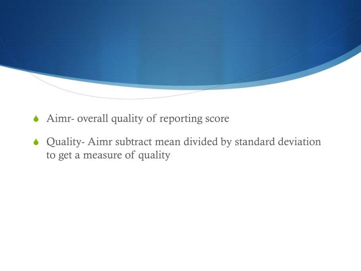Aimr- overall quality of reporting score