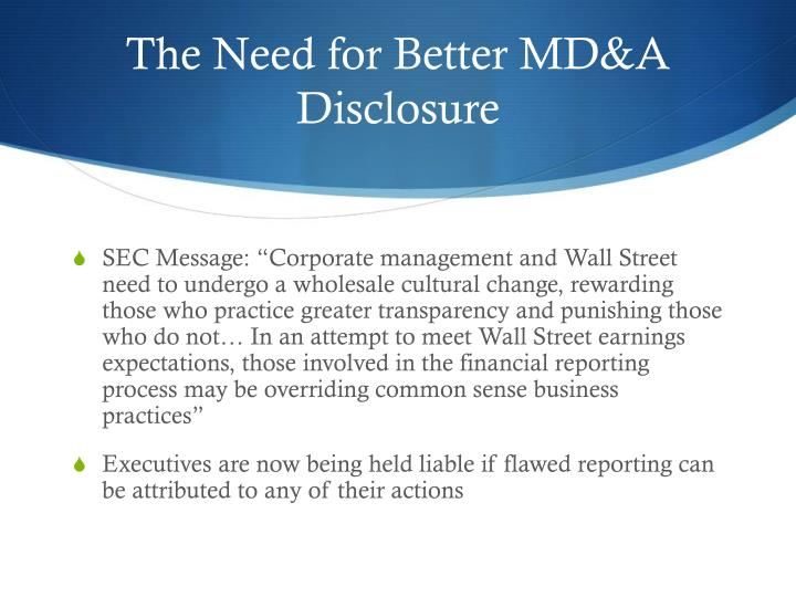 The Need for Better MD&A