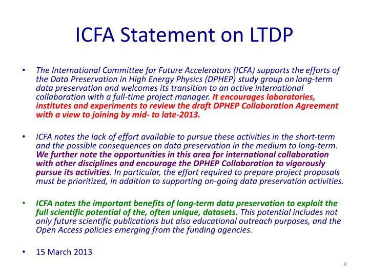 ICFA Statement on LTDP