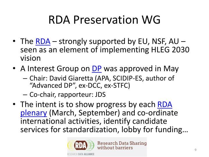 RDA Preservation WG