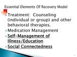 essential elements of recovery model