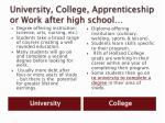 university college apprenticeship or work after high school