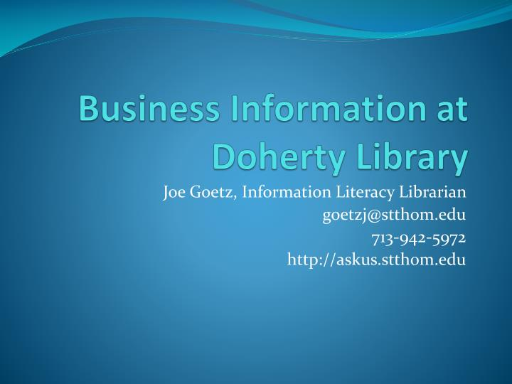 business information at doherty library n.