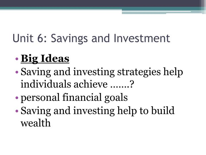 unit 6 savings and investment n.