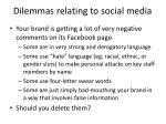 dilemmas relating to social media