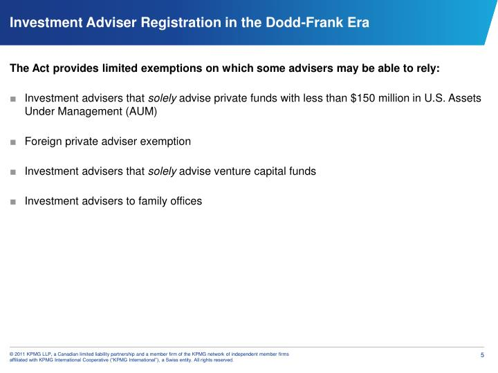 The Act provides limited exemptions on which some advisers may be able to rely: