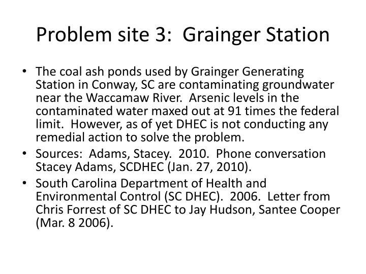 Problem site 3:  Grainger Station