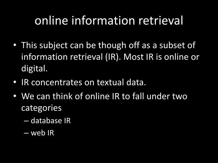 online information retrieval