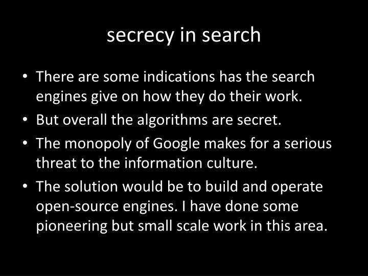 secrecy in search