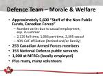 defence team morale welfare