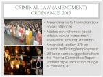 criminal law amendment ordinance 2013