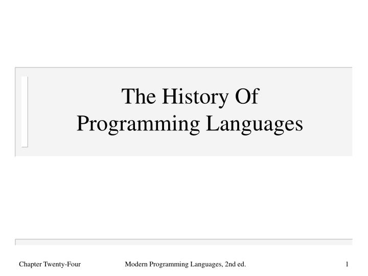 the history of programming languages n.