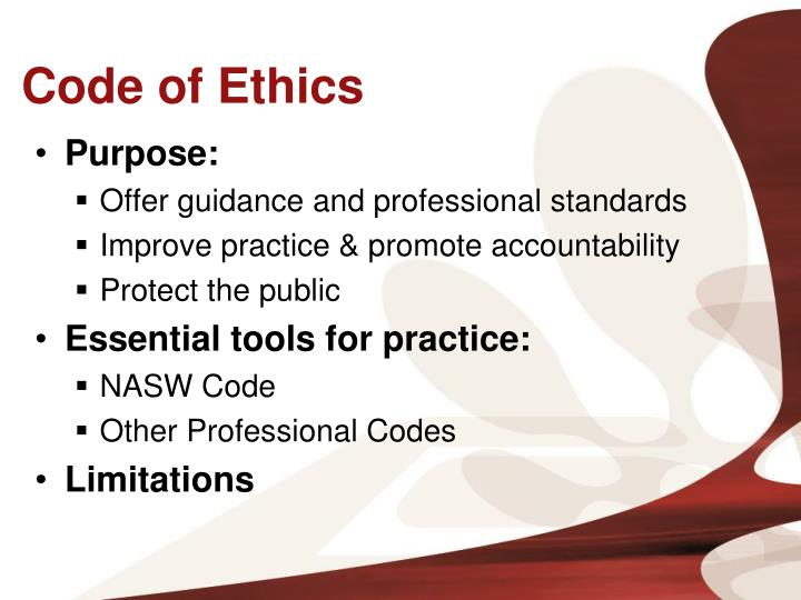 the code of ethics for a The american psychological association's ethical principles of psychologists and code of conduct provides guidance for psychologists in professional, scientific and educational roles.