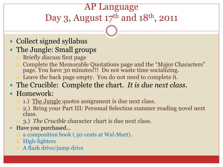 ap language day 3 august 17 th and 18 th 2011 n.
