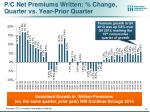 p c net premiums written change quarter vs year prior quarter