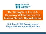 the strength of the u s economy will influence p c insurer growth opportunities