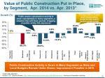 value of public construction put in place by segment apr 2014 vs apr 2013