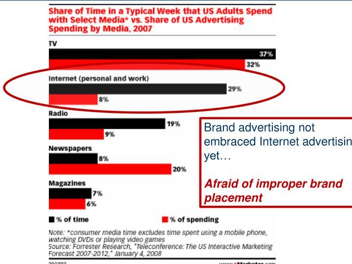 Brand advertising not embraced Internet advertising yet…