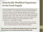 genetically modified organisms in the food supply