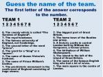 guess the name of the team the first letter of the answer corresponds to the number