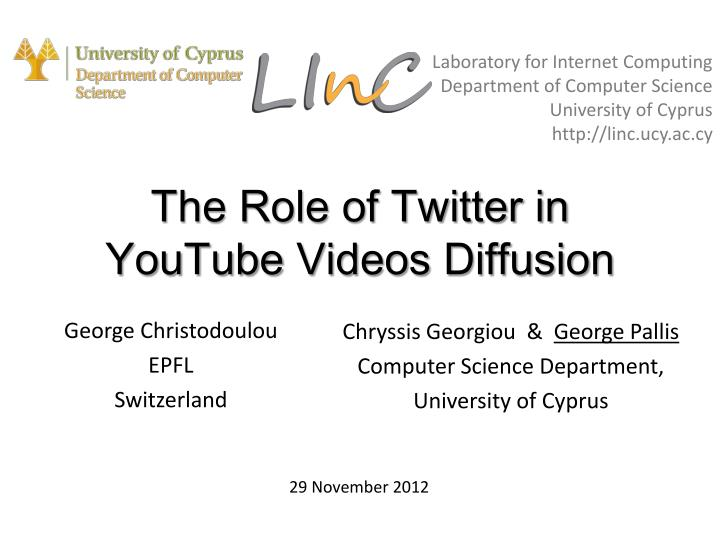 the role of twitter in youtube videos diffusion n.