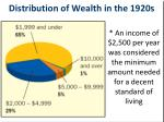 distribution of wealth in the 1920s