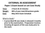 external ib assessment paper 1 exam based on set case study