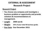 external ib assessment research project