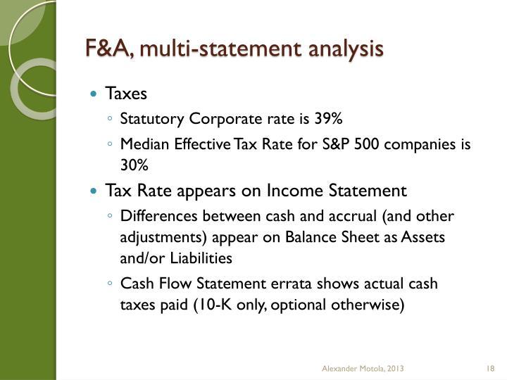 F&A, multi-statement analysis