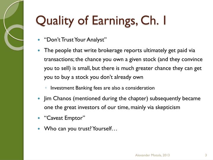Quality of earnings ch 1