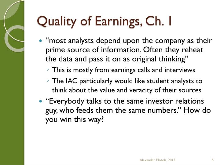 Quality of Earnings,