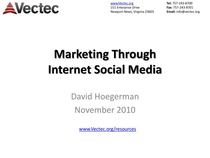 marketing through internet social media n.