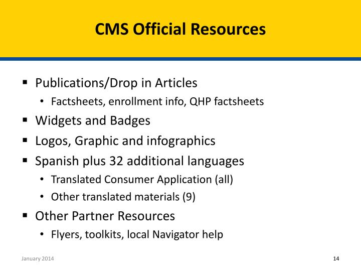 CMS Official Resources