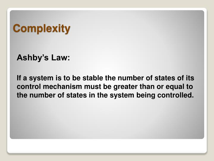 Ashby's Law: