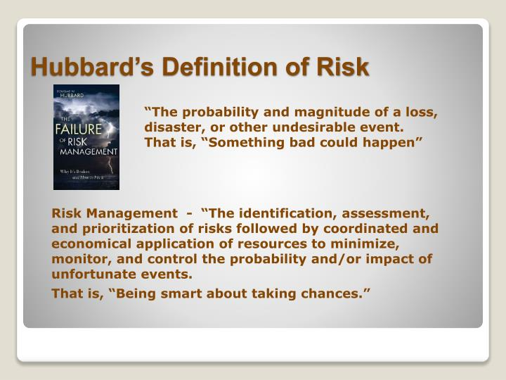 """""""The probability and magnitude of a loss, disaster, or other undesirable event."""