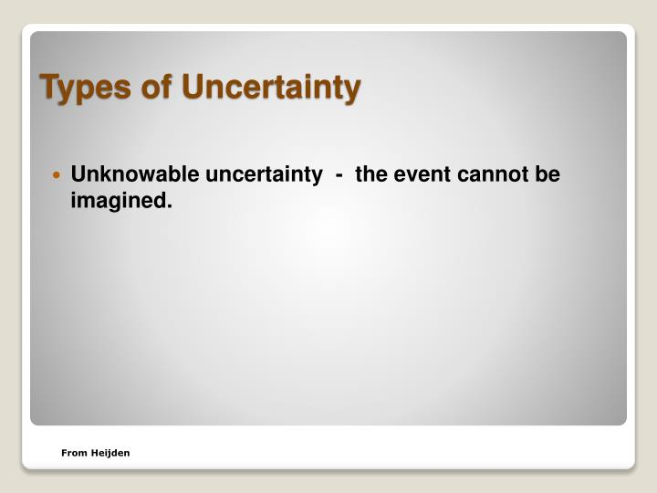 Unknowable uncertainty  -  the event cannot be imagined.