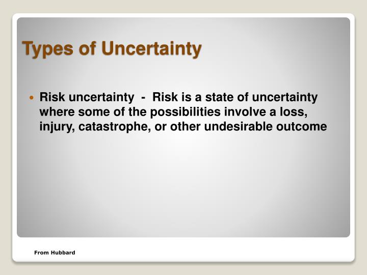 Risk uncertainty  -  Risk is a state of uncertainty where some of the possibilities involve a loss, injury, catastrophe, or other undesirable outcome