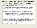 recent cases the unlawful acts doctrine and proportionate responsibility