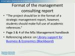 format of the management consulting report