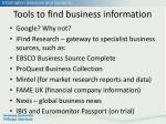 tools to find business information