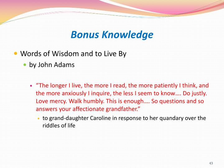Bonus Knowledge