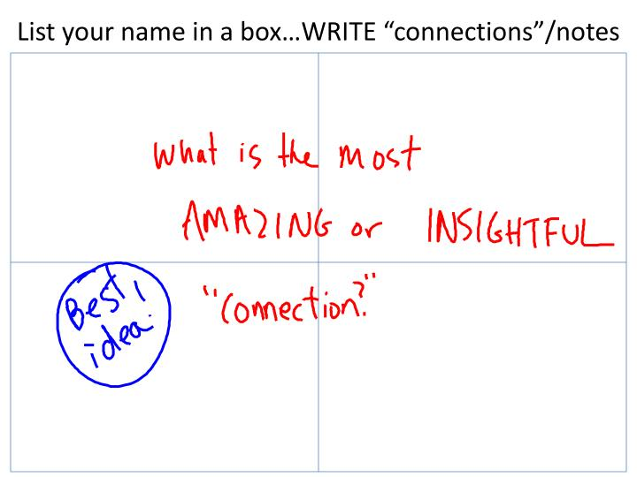 """List your name in a box…WRITE """"connections""""/notes"""
