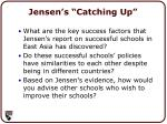 jensen s catching up