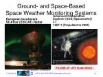 ground and space based space weather monitoring systems