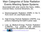 main categories of solar radiation events affecting space systems