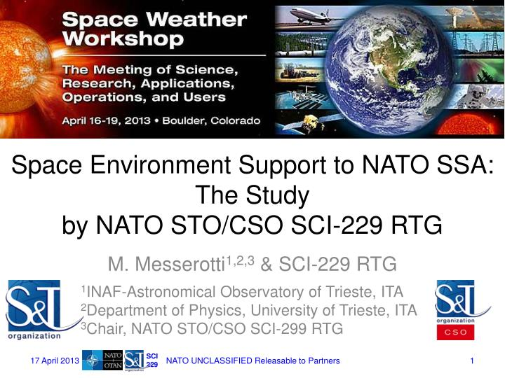 space environment support to nato ssa the study by nato sto cso sci 229 rtg n.